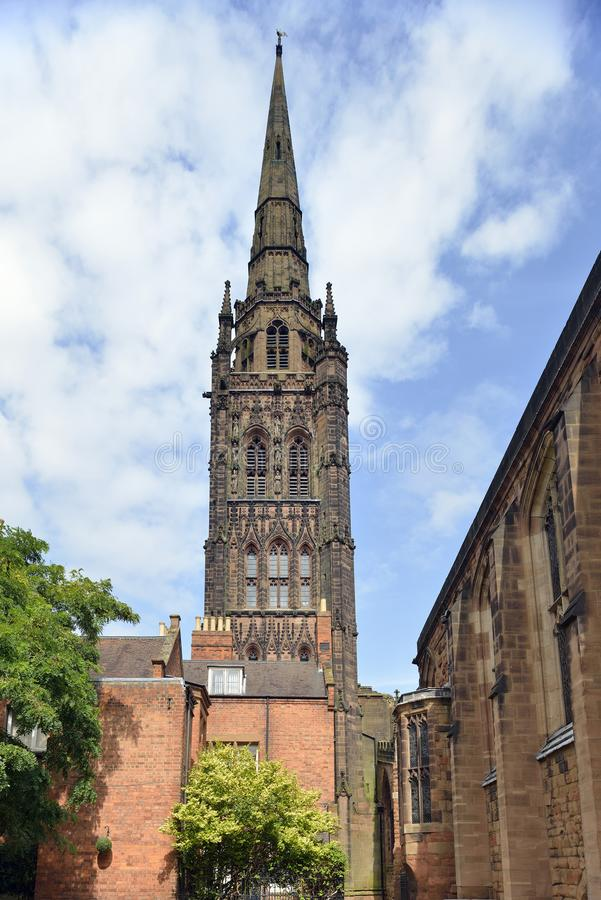 Spire of Coventry Old Cathedral royalty free stock photos