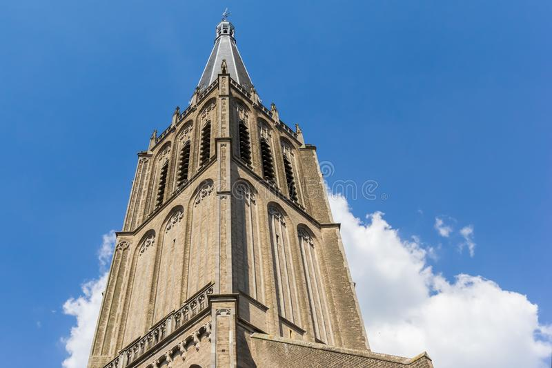 Spire of the historic Martini church in Doesburg. Netherlands stock photo