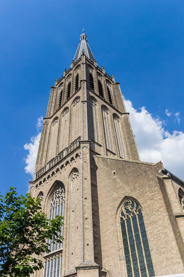 Spire of the historic Martini church in Doesburg. Netherlands royalty free stock image