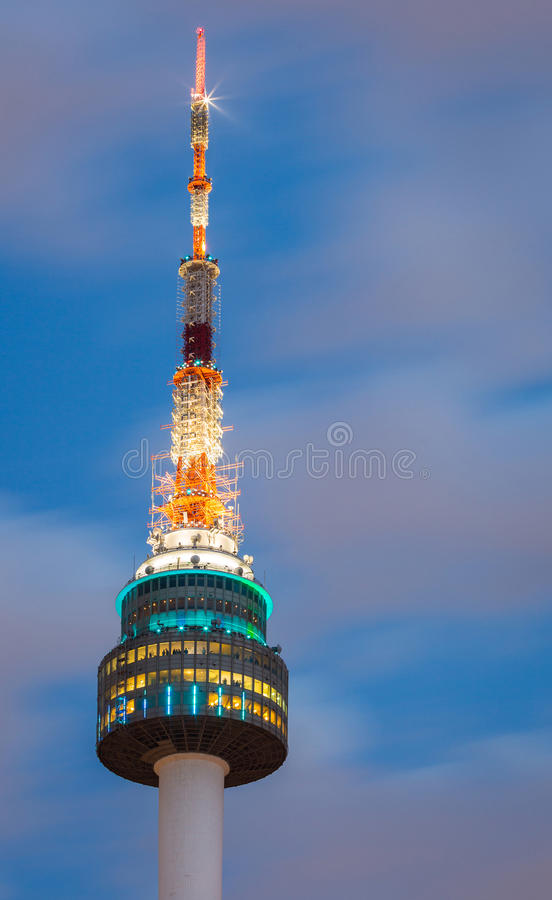 The spire of N Seoul Tower, or Namsan Tower stock photography