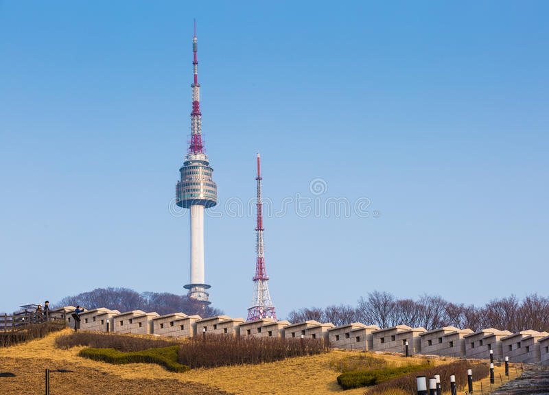 The spire of N Seoul Tower, South Korea. The spire of N Seoul Tower, or Namsan Tower, South Korea stock photos