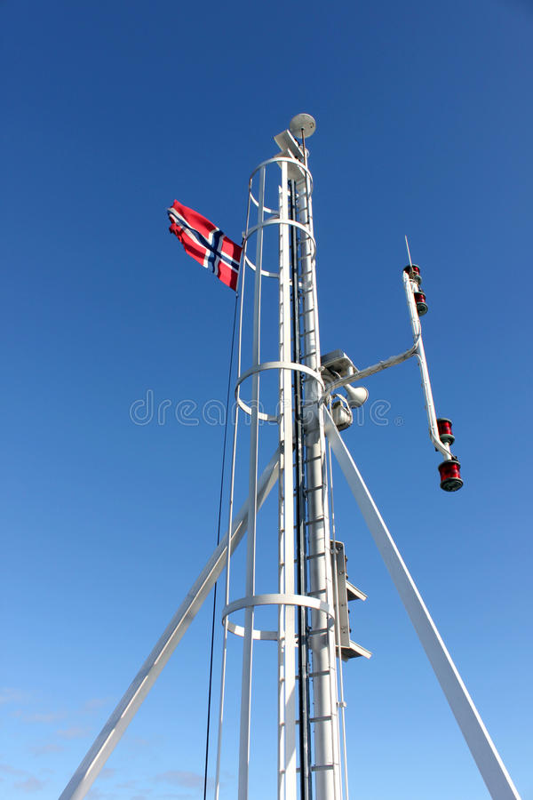 Spire With Norwegian Flag Royalty Free Stock Photos