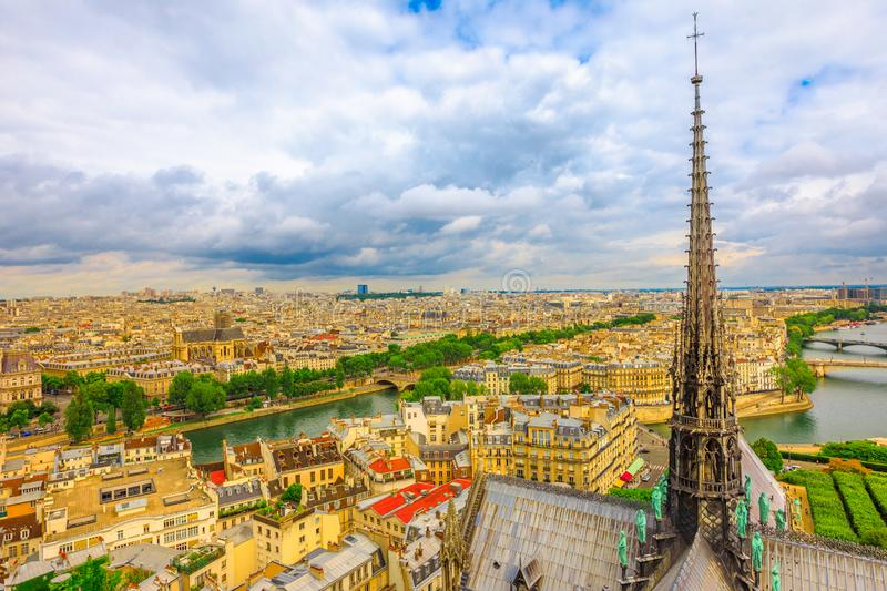 The spire of Notre Dame cathedral stock photography