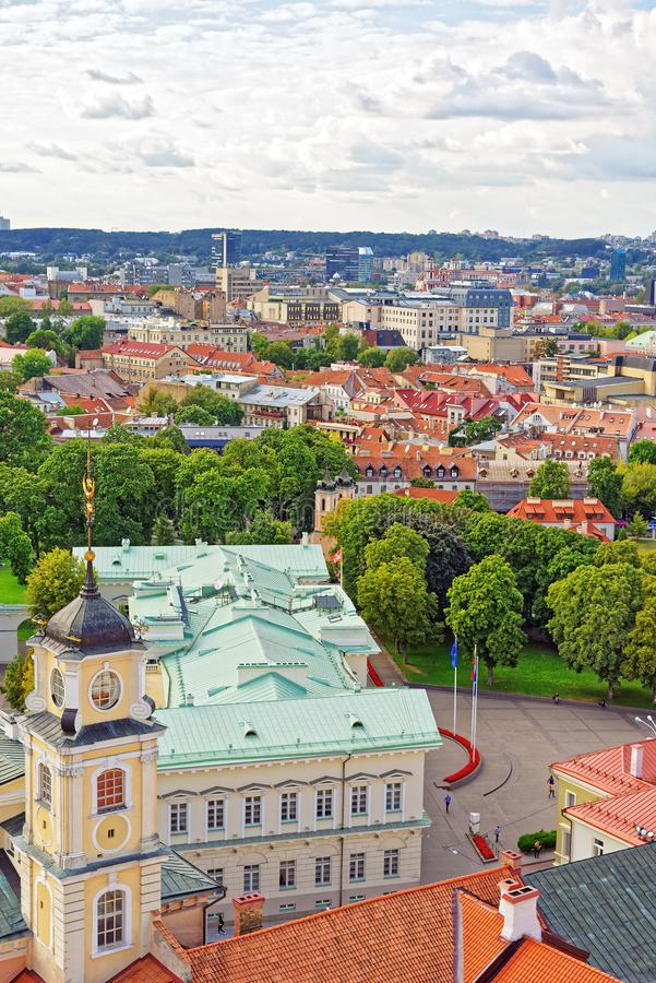 Spire of Observatory of Vilnius University and Presidential Palace. Vilnius, Lithuania stock image