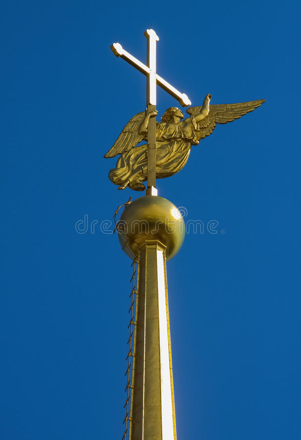 Spire on Peter and Paul Cathedral in St Petersburg. Golden spire on the Peter and Paul Cathedral in St. Petersburg Russia stock photo