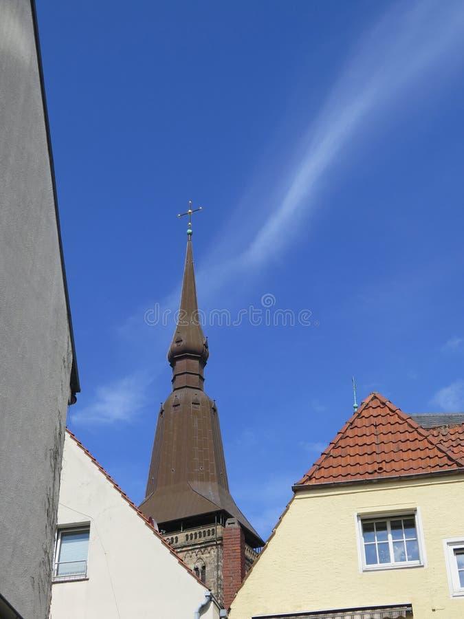 Spire on Saint Mary Church. Osnabruck, Germany stock photo