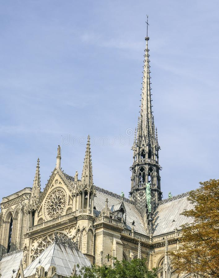 Spire Structure of Notre-Dame Cathedral stock photography