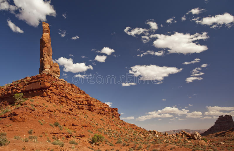 Spire in Utah's Valley of the Gods. Eagle Plume Spire in Utah's Valley of the Gods stock image