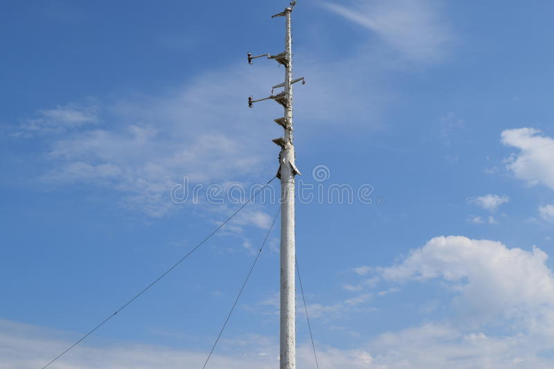 The spire of a warship mast. Antennas for Communications royalty free stock image
