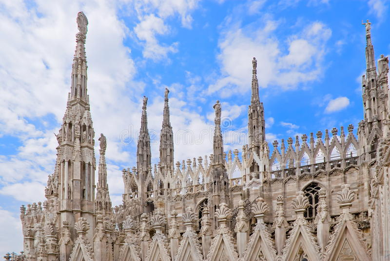 Spires of the Cathedral of Milan. A view of the spires of the Milan cathedral in Italy, Europe royalty free stock photo
