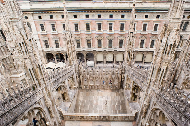 Spires of the Cathedral of Milan. A view of the spires of the Milan cathedral in Italy, Europe royalty free stock images