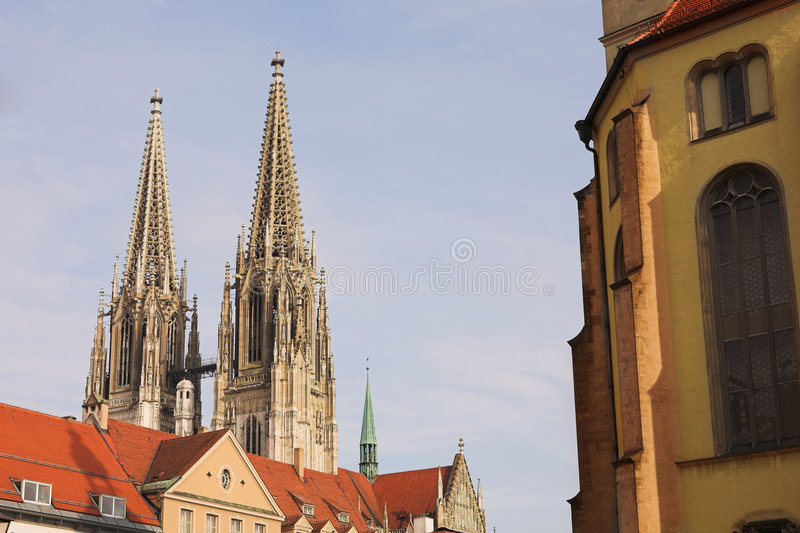 Download Spires of the Dom stock photo. Image of regensburg, protestant - 5056948