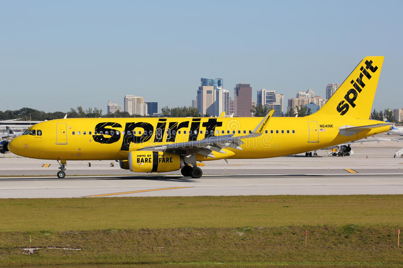 Spirit Airlines Airbus A320 airplane Fort Lauderdale airport. Fort Lauderdale, United States - February 17, 2016: A Spirit Airlines Airbus A320 with the royalty free stock photo