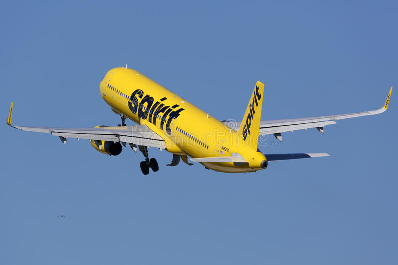 Spirit Airlines Airbus A321 airplane Fort Lauderdale airport. Fort Lauderdale, United States - February 17, 2016: A Spirit Airlines Airbus A321 with the royalty free stock images