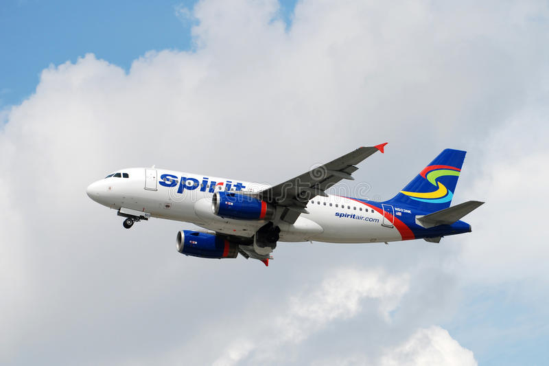 Spirit Airlines Airbus in flight royalty free stock photography