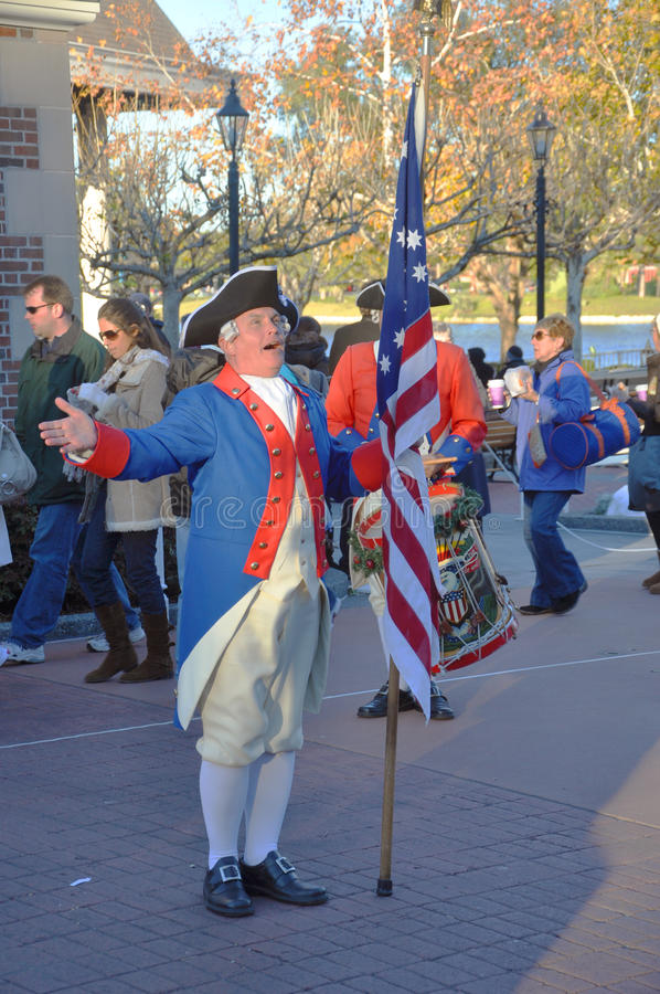 Spirit of America Fife & Drum Corps show in Disney stock images