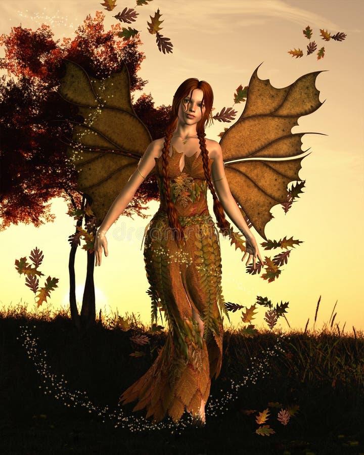 Spirit of Autumn. Fairy spirit with an Autumn (fall) background, 3d digitally rendered illustration vector illustration