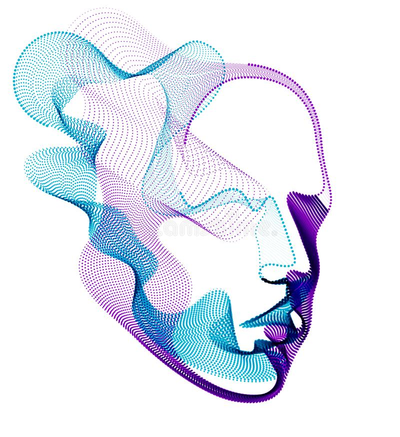 Spirit of digital electronic time, Artificial Intelligence vector illustration of human head made of dotted particles wave lines,. Particle flow, technological stock illustration
