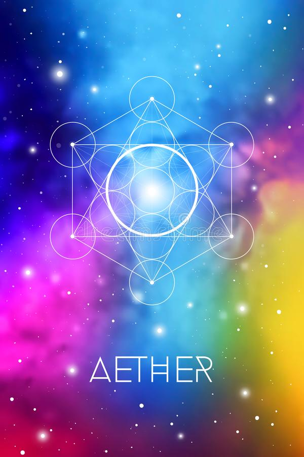 Spirit element symbol inside Metatron Cube and Flower of Life in front of outer space cosmic background. Aether sacred geometry. Spirit element symbol inside royalty free illustration