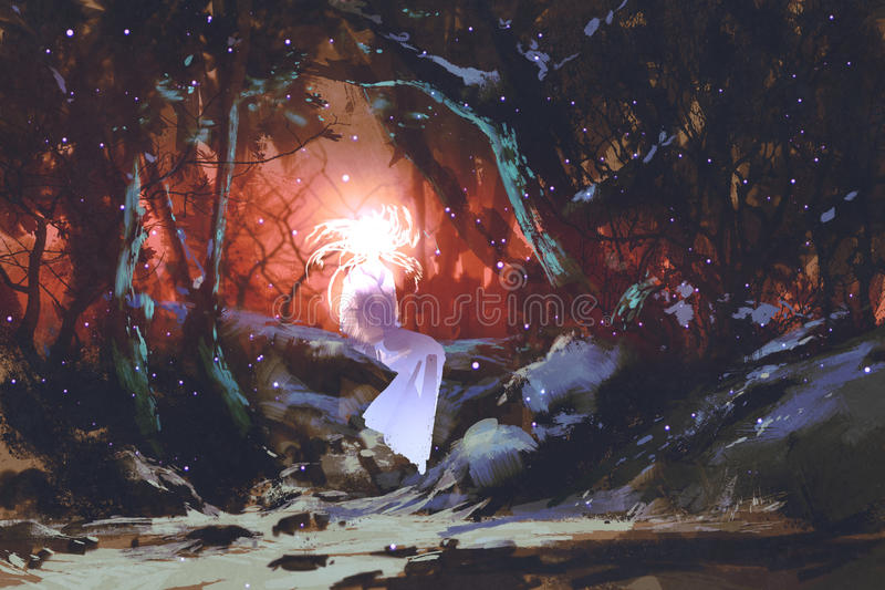 Spirit of the enchanted forest. Woman in the dark woods,illustration painting stock illustration