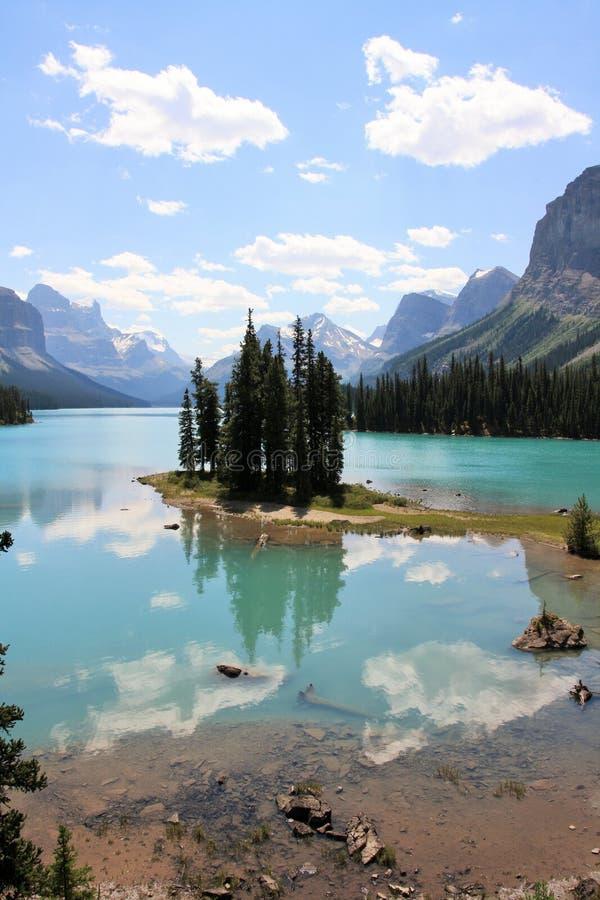 Spirit Island at Jasper National Park stock photos