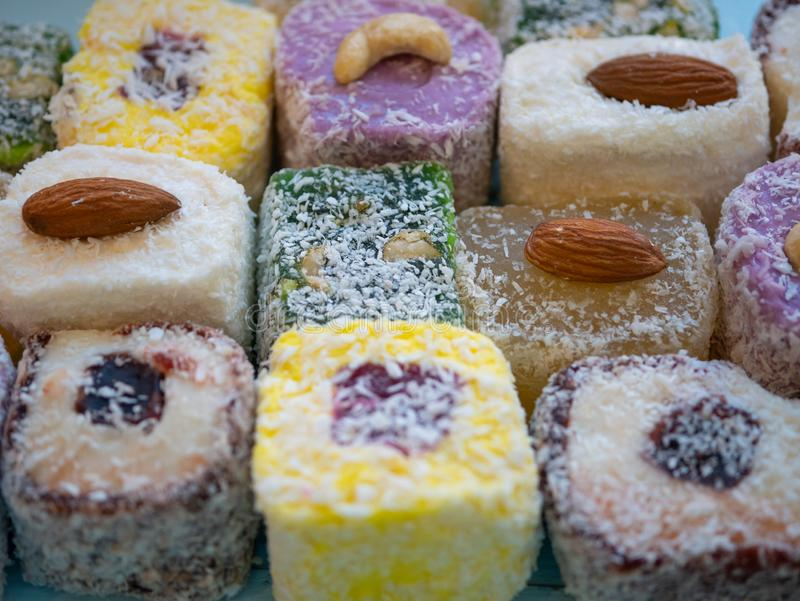 Spirit of Istanbul market. variety of turkish delight royalty free stock photos