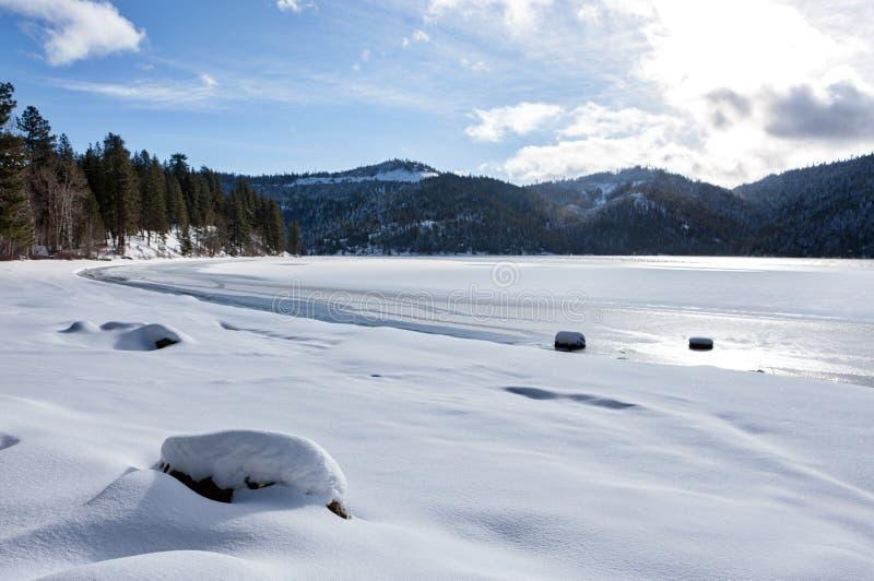 Spirit Lake, Idaho in winter. Frozen Spirit Lake shore line during winter in Spirit Lake, Idaho royalty free stock photography