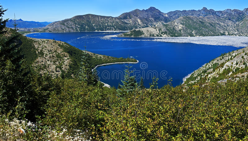 Spirit Lake, Washington. Panorama of Spirit Lake near Mt. St. Helens, Washington stock photo