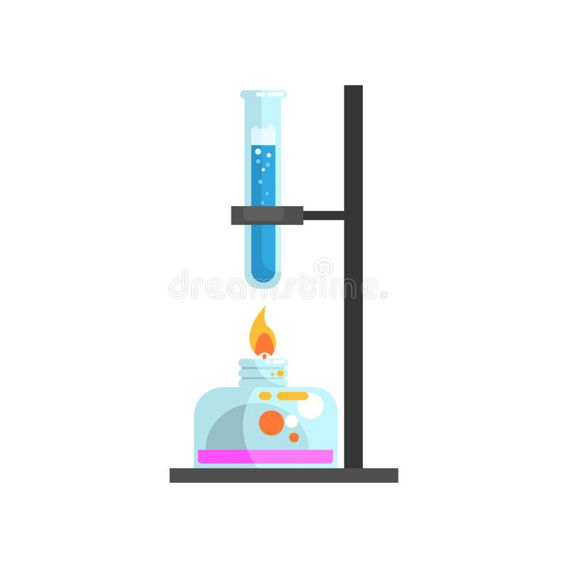 Spirit lamp with fire and glass test tube with blue liquid on stand. Laboratory equipment for science experiments vector illustration