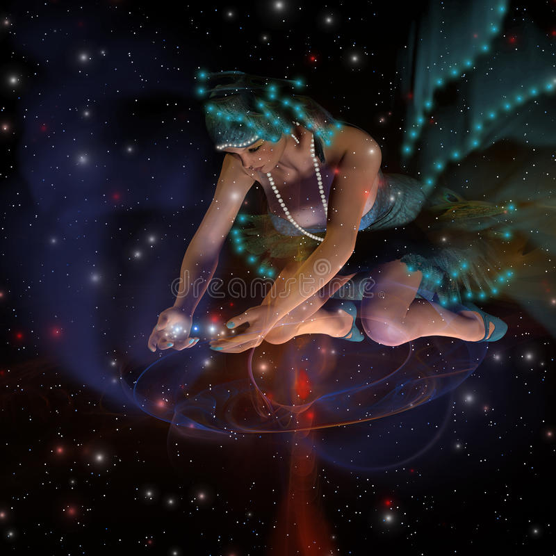Spirit of the Stars. A ghostly female spirit dressed in turquoise stars spreads stars and planets throughout the universe vector illustration