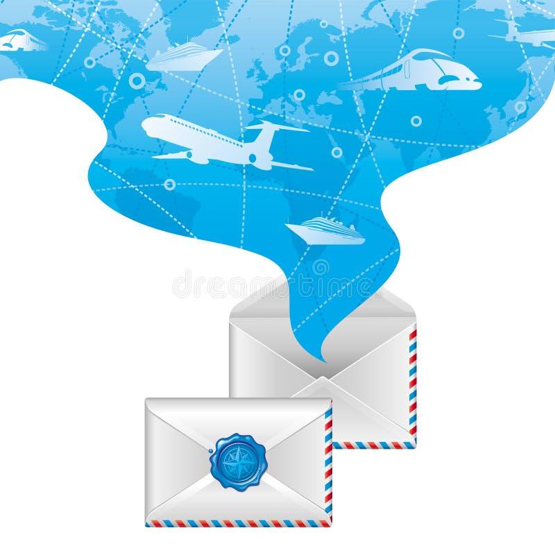 Download Spirit Of Travel From Opened Letter Stock Illustration - Image: 14204459
