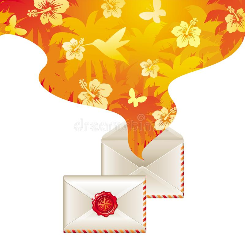 Download Spirit Of Tropical Travel From Opened Letter Stock Illustration - Illustration of mail, exotic: 14204474