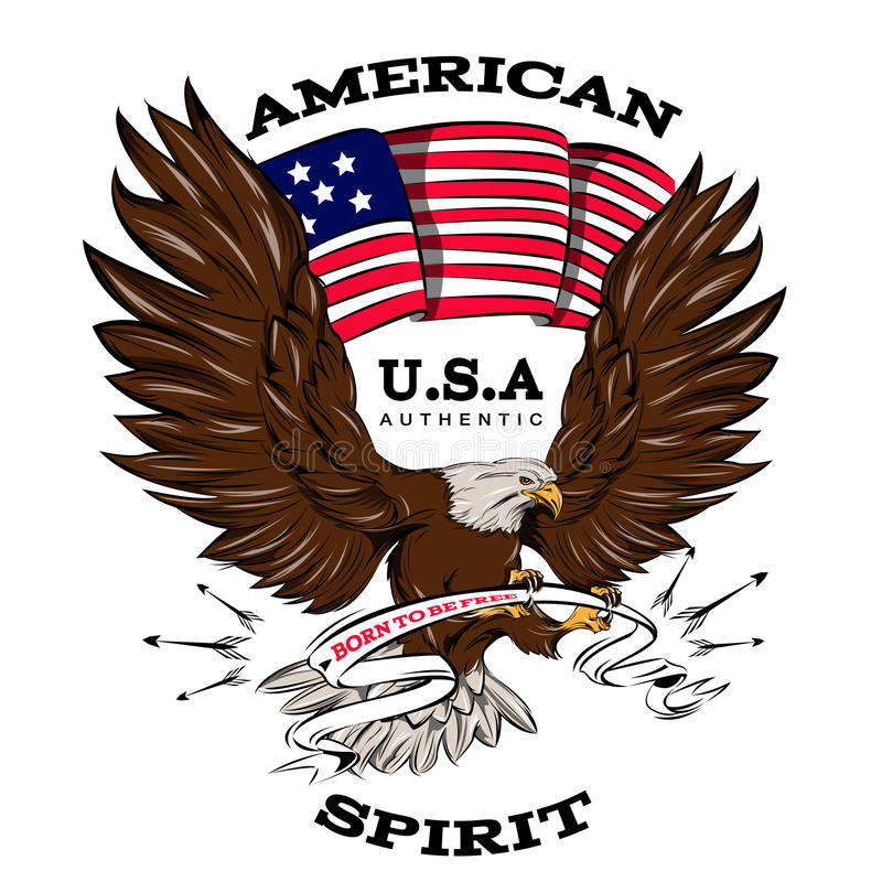 Spirit Of USA Emblem. With american flag white brown flying eagle with ribbon in talons vector illustration stock illustration