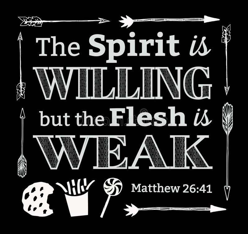 The Spirit is Willing but the Flesh is Weak. Bible Scripture Design Art with Hand-Drawn Arrow Border and Heart with light Rays. Verse from Matthew 26:41 vector illustration