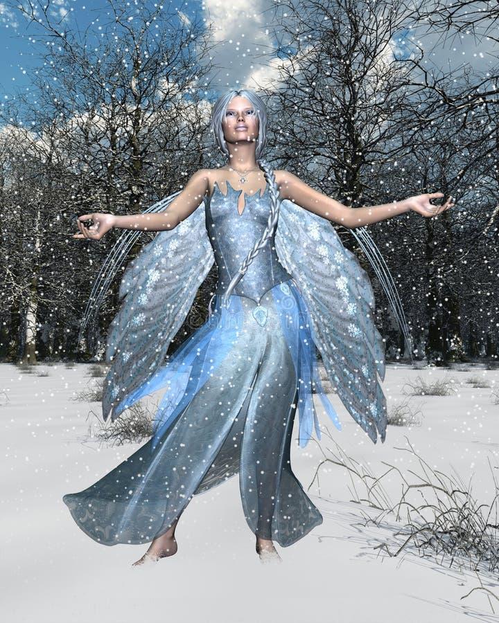 Spirit of Winter. Fairy spirit with an Winter woodland background, 3d digitally rendered illustration royalty free illustration