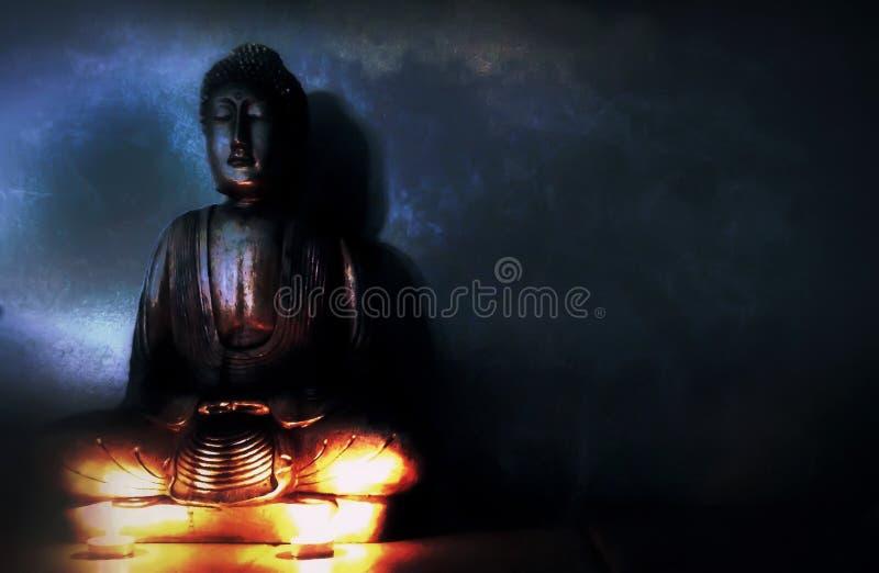 Spirit world. A buddha in deep meditation entering the spiritual world stock image