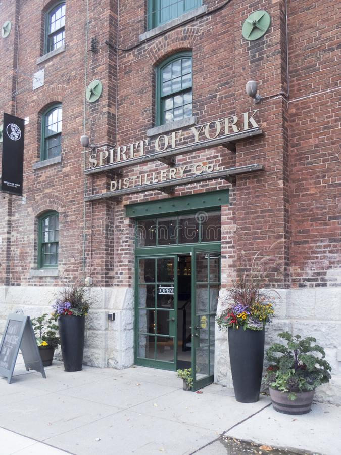 Spirit of York distillery in Distillery District, Toronto. The Distillery District is a commercial and residential district in Toronto, Ontario, Canada. Located stock image