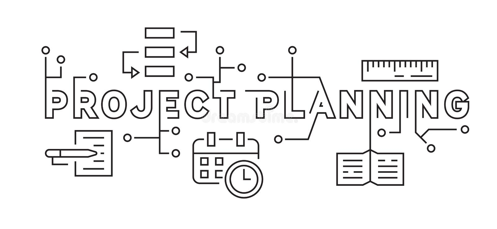 Project Planning and Business Strategy Concept. Black and White Flat Line Design Ilustration. Youthful Doodle Style Vector. the sp. The spirit of young employees stock illustration