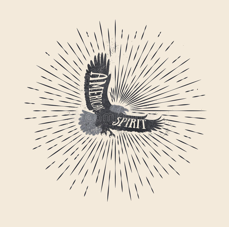 Spirito americano L'annata ha disegnato l'illustrazione di vettore dell'aquila royalty illustrazione gratis