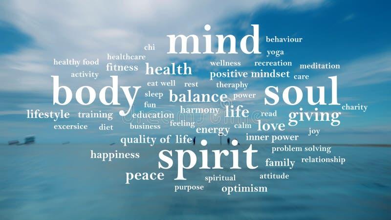 Spirito di anima di mente del corpo, concetto motivazionale di citazioni di parole fotografia stock