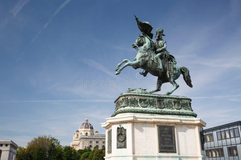 Spirito di Erzherzog Karl Archduke Charles del cavaliere della statua a cavallo immagine stock