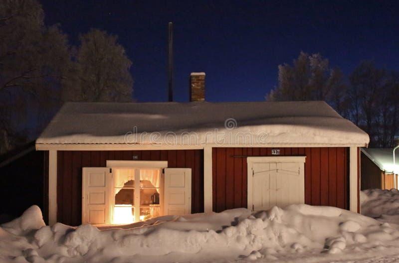 Spirito di Natale nella città della chiesa di Gammelstad fotografia stock