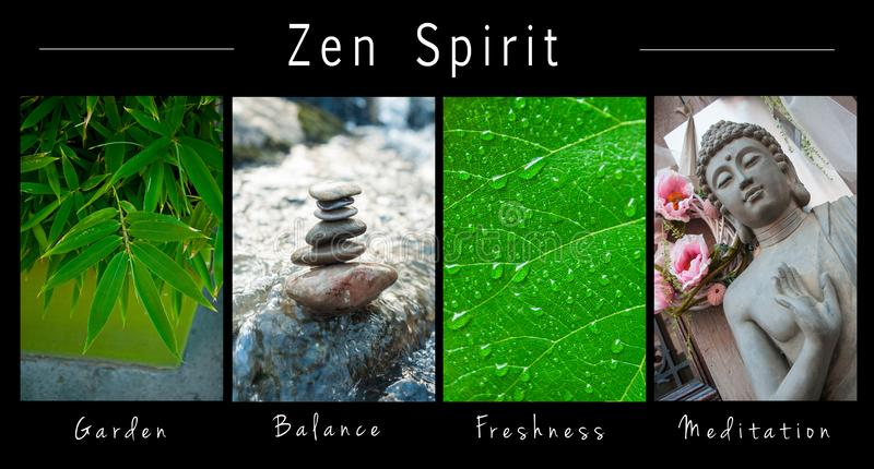 Spirito di zen - collage con testo: Giardino, equilibrio, freschezza e meditazione immagine stock