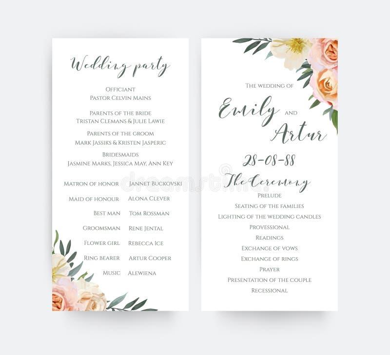 Spirito floreale di progettazione di carta di programma di cerimonia del partito dell'acquerello di nozze illustrazione di stock