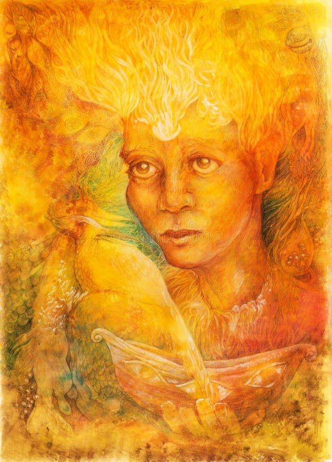 Spirito leggiadramente leggero dorato di fantasia con due uccelli di Phoenix e una barca illustrazione di stock