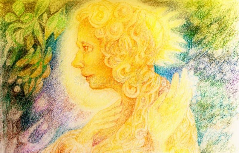 Spirito leggiadramente leggero dorato di fantasia con gli uccelli e le foglie di galleggiamento illustrazione vettoriale