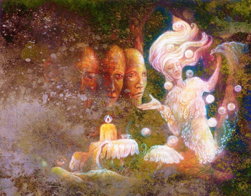 Spirito leggiadramente radiante magico in abitazione della foresta con l'albero sacro royalty illustrazione gratis