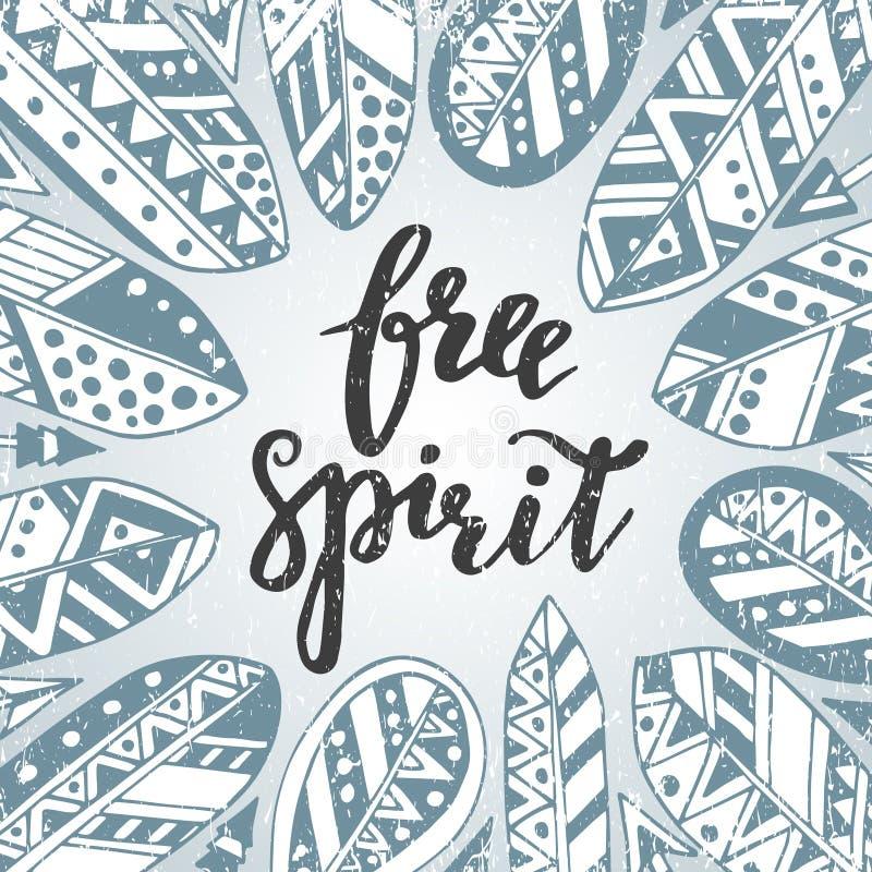 Spirito libero scritto a mano di citazione con le piume e le frecce royalty illustrazione gratis
