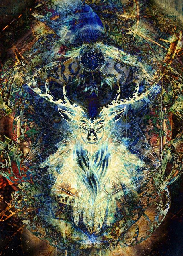 Spirito ornamentale sacro dei cervi con il simbolo di sogno del collettore e piume e merkaba illustrazione vettoriale