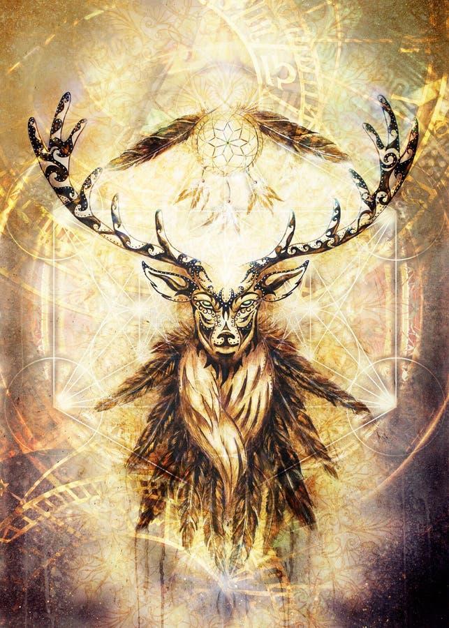 Spirito ornamentale sacro dei cervi con il simbolo di sogno del collettore e piume e merkaba royalty illustrazione gratis